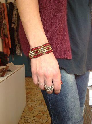 Bracelet manchette nakamol rouge doré